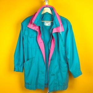 Vintage 90s Windbreaker Raincoat - Baby Blue Pink